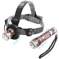 Налобный фонарь + ручной Police 6812-XPE, 12V, zoom
