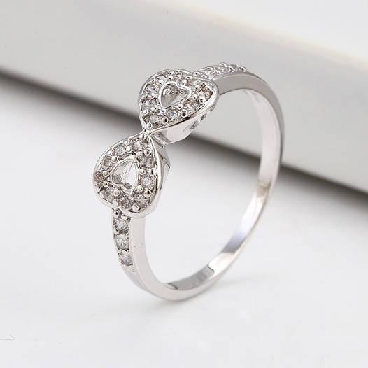 Кольцо 12990 размер 18, белые фианиты, позолота Белое Золото ... 4eb8d411c43