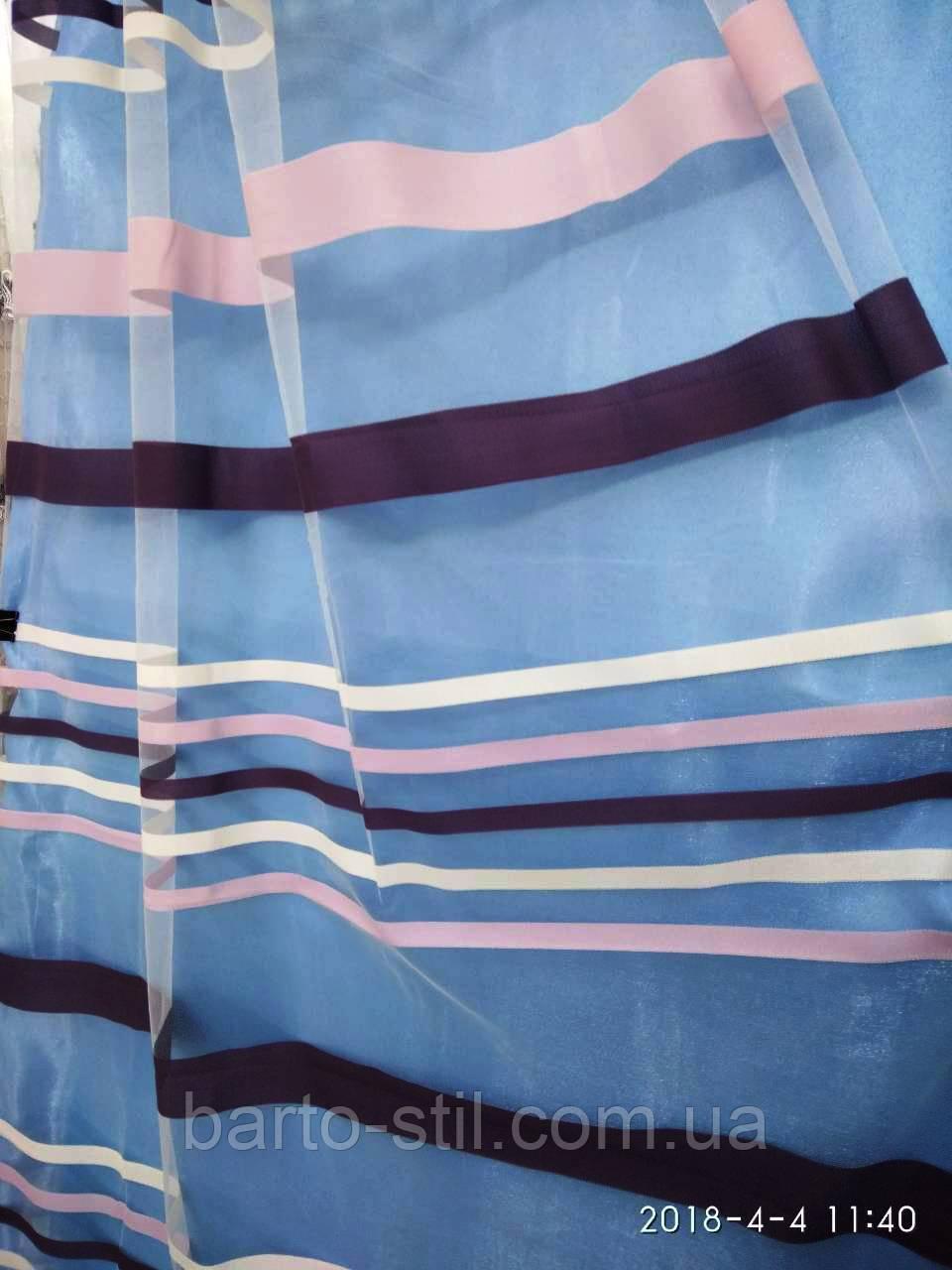 Фатиновая тюль с тканьевыми  полосками Оптом и на метраж Высота 3 м