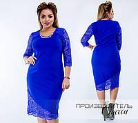 Нарядное платье из дайвинга с гипюровыми вставками, для любого повода, р.50,52,54,56,58,60 код 5163О
