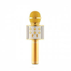 Bluetooth микрофон-караоке WS-858 BLACK/GOLD / ROSE / SILVER с динамиком (колонкой), слотом USB и  FM тюнером