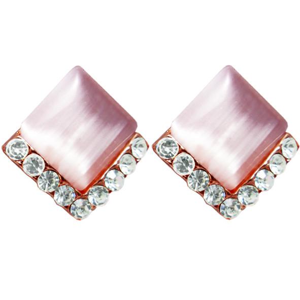 Сережки під Золото Рожевий Ромб з Камінням Сваровські, Замок Італійський, 17мм*16мм