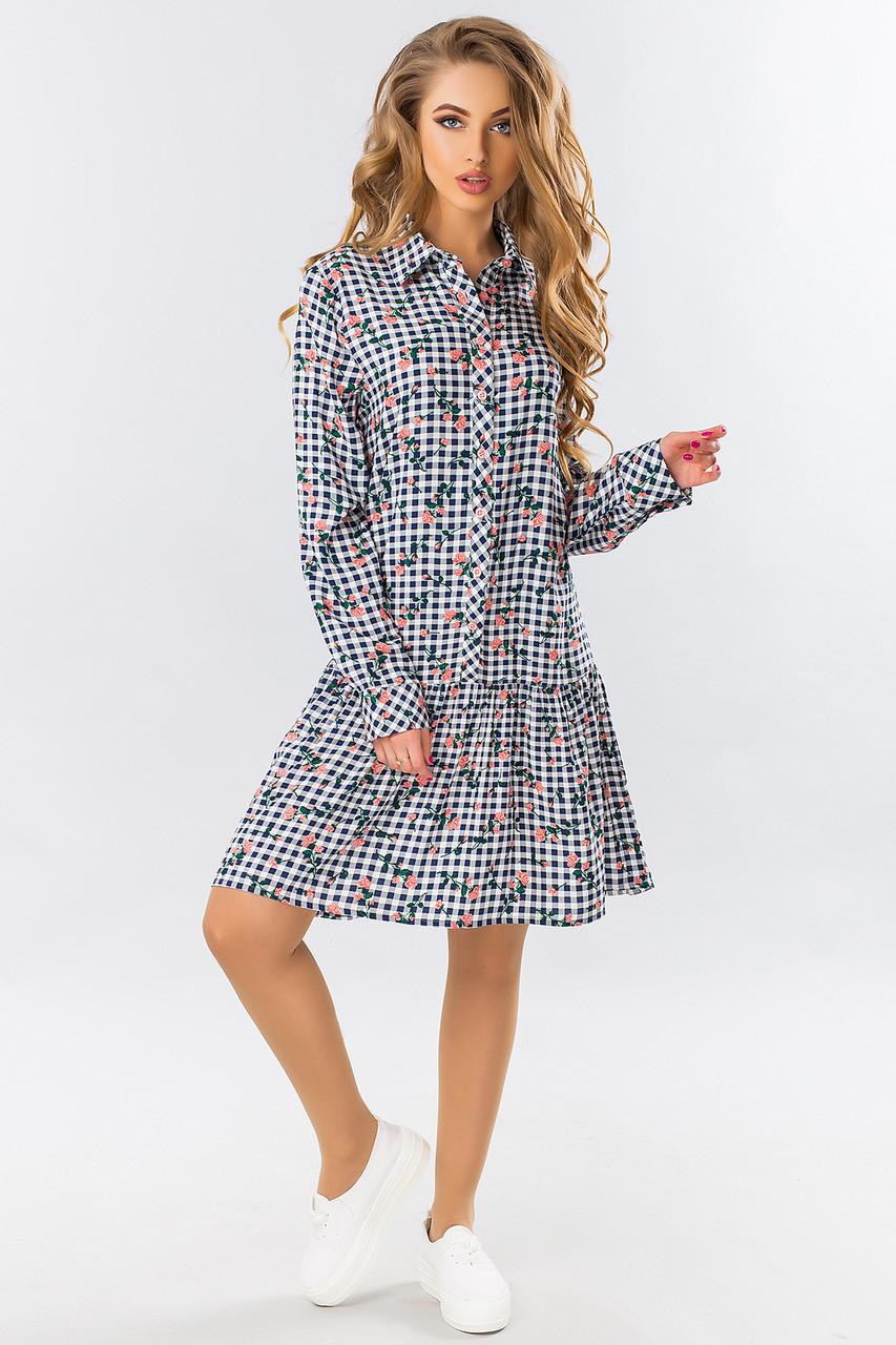 1680a484a19 Свободное платье-рубашка с оборкой внизу в клетку с длинным рукавом  (розовая роза)