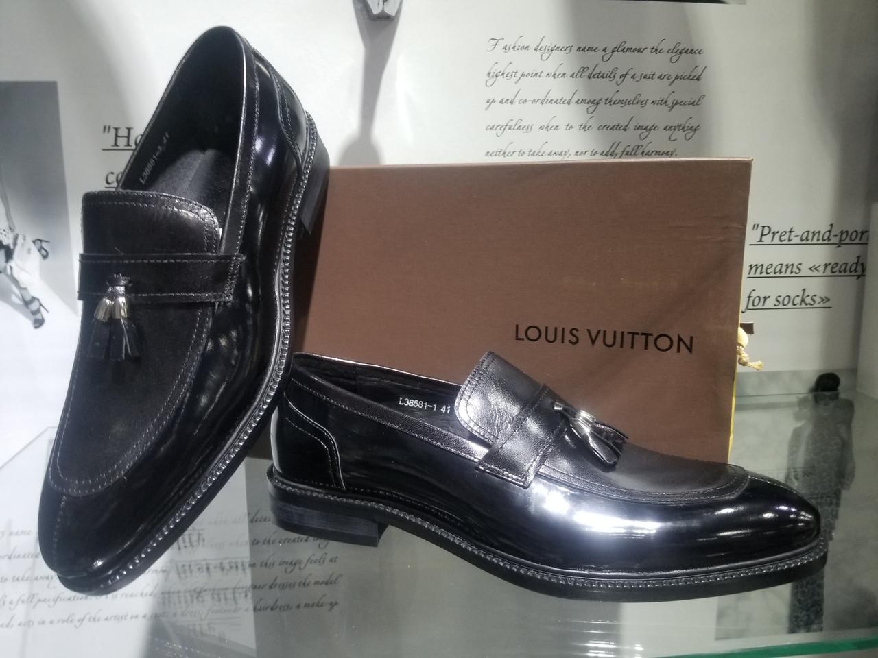 8180ed63e291 Мужские туфли-лоферы Louis Vuitton, глянцевая кожа, цвет черный, 40 ...