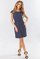 Короткое летнее синее платье с резинкой на талии и принтом Якорьки