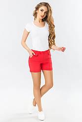 Летние женские шорты с оригинальными карманами коралловые