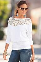 """Женская блузка с элегантным кружевом """"Vanessa"""" S, M, L (белая)"""