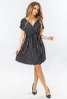 Короткое летнее черное платье с запахом в горошек с открытой спинкой