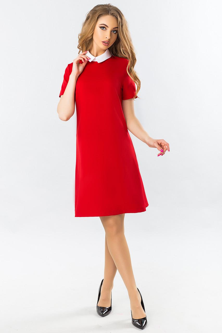 6e1bfac6137 Прямое красное платье с белым воротником короткий рукав -