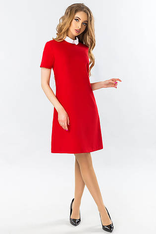 23a521debbf Прямое красное платье с белым воротником короткий рукав - купить по ...