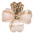 Сережки Золоте Серце з Кремовим Бантом, Замок Італійський, 18мм*17мм, фото 3