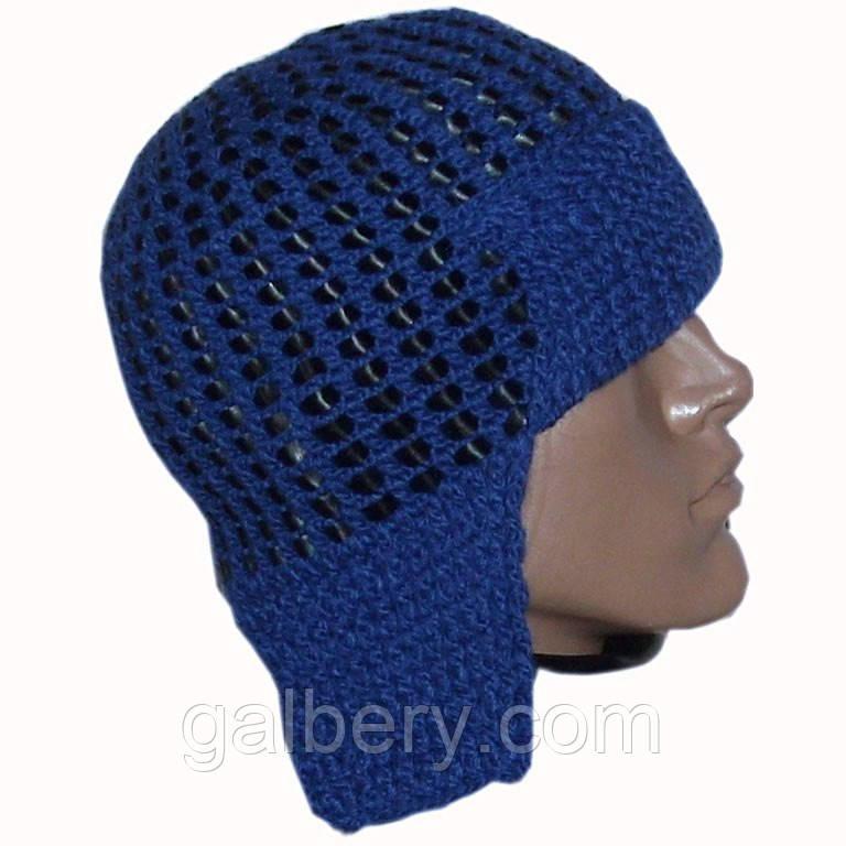 Мужская вязаная шапка - ушанка на подкладке с кожаными вставками