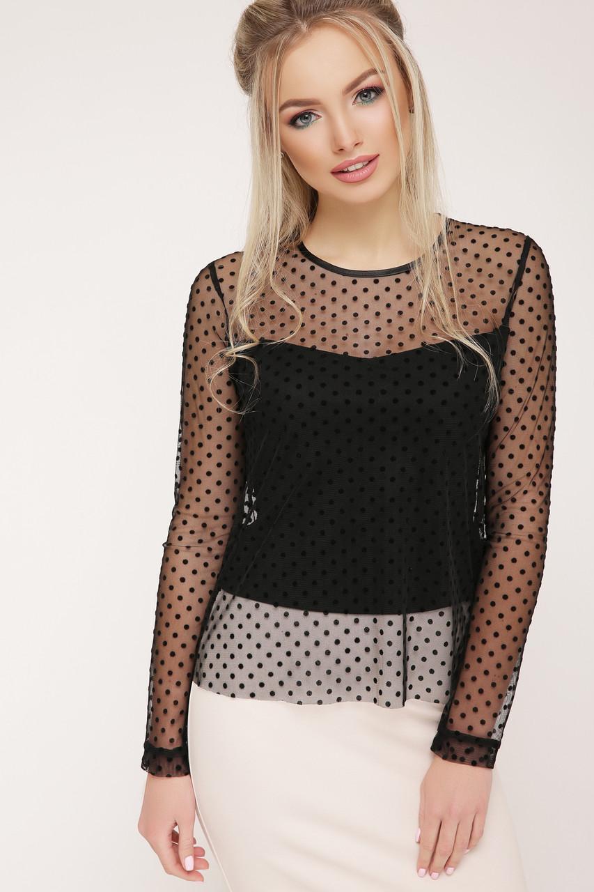 518bf91dae66a20 Нарядная черная прозрачная блузка в горошек длинный рукав Амалия д/р -