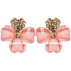 Сережки Золоте Серце з Рожевим Бантом, Замок Італійський, 18мм*17мм