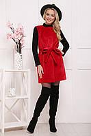 Женская короткая меховая жилетка с поясом Ж-337-н, красная