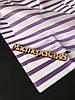 Бумага декоративная белая в фиолетову полосу 50*65 см 10 листов, бумага для помпонов и декора