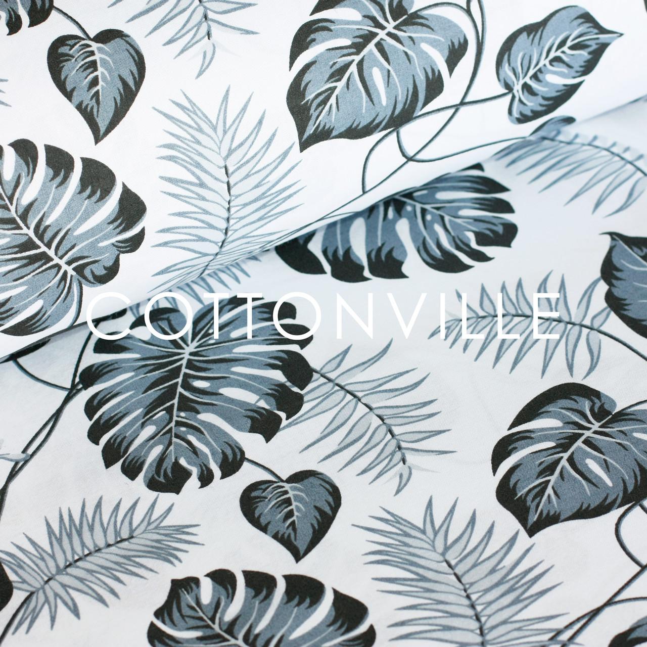 ✁ Отрезы бязи Пальмовые листья монохром