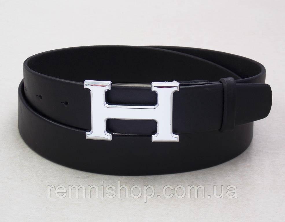 Кожаный ремень Hermes черный