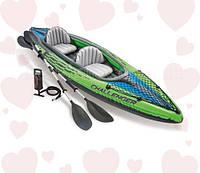 Intex 68306 (76х351х38 см.) Надувная байдарка двухместная Challenger K2 Kayak