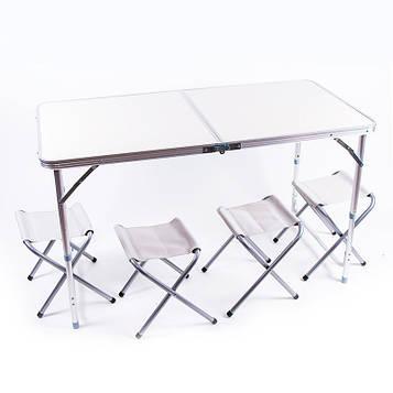 Стіл туристичний і 4 стільці (пластик, 120*60*70/52 см)