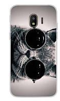 Оригинальный чехол накладка для Samsung J2 2018 Galaxy J250 с картинкой Кот в очках