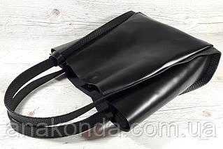 151 Натуральная кожа, Сумка женская черный, ручки тиснение рогожка, фото 3