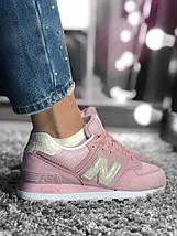 Размер 36, 40 и 41 !!! Женские кроссовки New Balance 574 Pink/ Реплика / 1:1 к оригиналу, фото 3