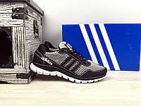 Мужские кроссовки сетка реплика Adidas Черный/Серый 855