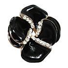 Сережки під Золото Чорний Квітка з Камінням Сваровські, Замок Італійський, 23мм*20мм, фото 4