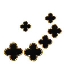 Набір 3 Пари Сережок під Золото Чорні Хрест, 10мм, 8мм, 6мм.
