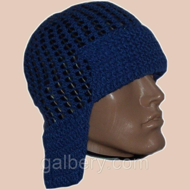 Мужская вязаная шапка-ушанка на подкладке с кожаными вставками