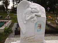Скорбящий ангел, скульптура, белый мрамор, фото 1