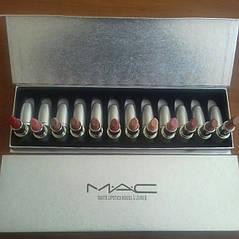 Набір помад MAC matte lipstick rouge a levres 12 помад в сріблястою подарунковій упаковці, фото 2