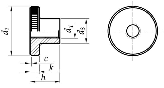 Схема нажимной высокой гайки DIN 466 с цинковым покрытием