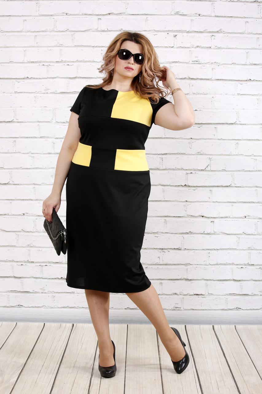 5836ea41cf5a04f Трикотажное черное платье больших размеров 0790 - V Mode, прямой поставщик  женской одежды в Харькове