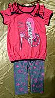 Летний комплект для девочки футболка и лосины из хлопкового трикотажа 30-36 р So