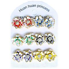 Жіночі Сережки Гвоздики Багатопелюсткові Квіти зі Стразами, Упаковкою на 6 пар, Біжутерія