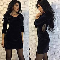 Платье бархатное, по бокам сетка, фото 1