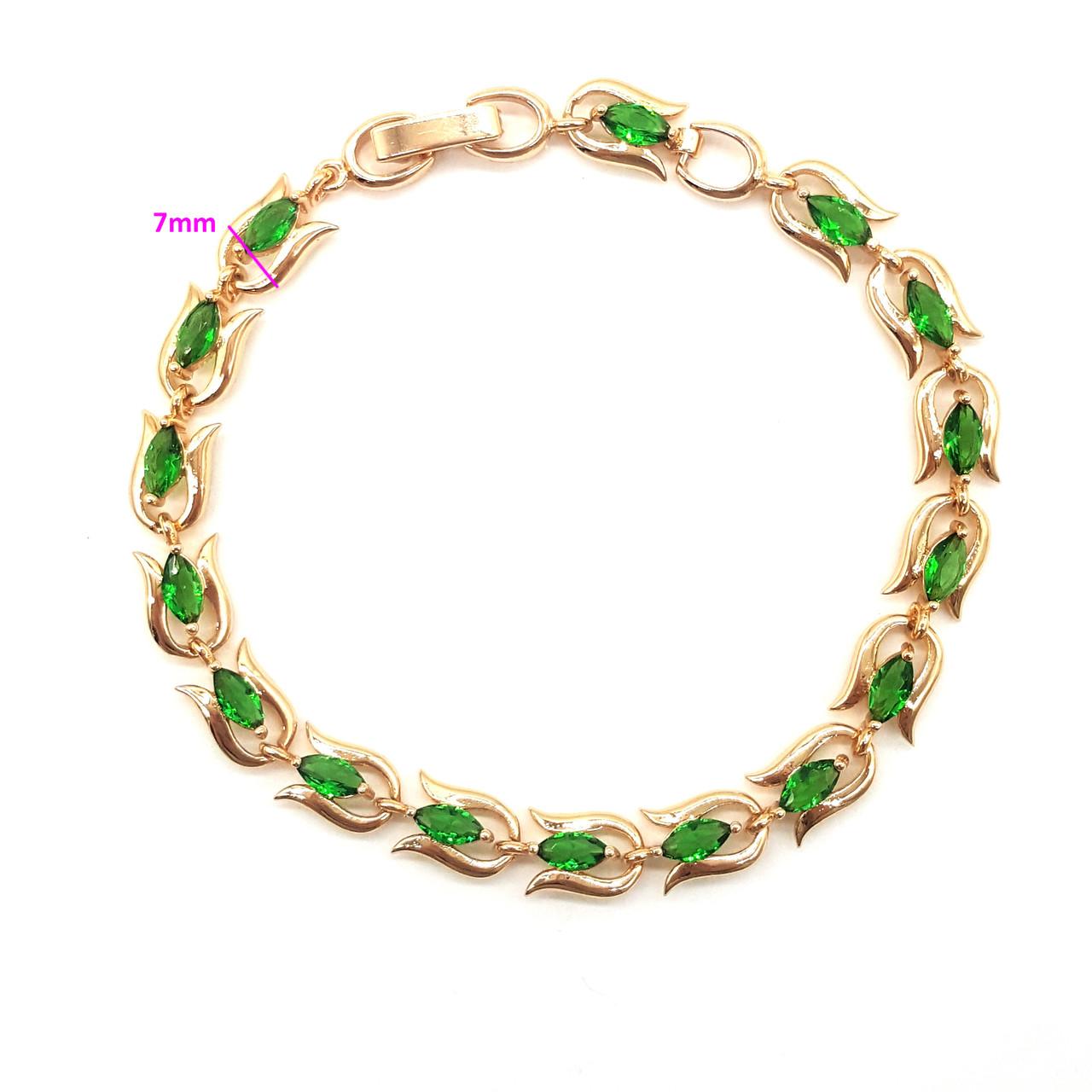 Браслет позолоченный, Цветочная Дорожка, с зеленым цирконием, р.17,5,  р.19,5