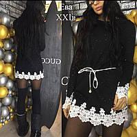 Платье-туника люрексовая нить, с белым кружевом, 3 цвета, фото 1