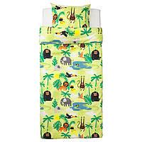 """ИКЕА """"ДЖАНГЛСКОГ"""" Комплект детского постельного белья, зверьки Африки, разноцветный, 150x200/50x60 см."""