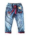 Модные джинсы на подтяжках бордовый манжет для мальчика 1-4 года, фото 2