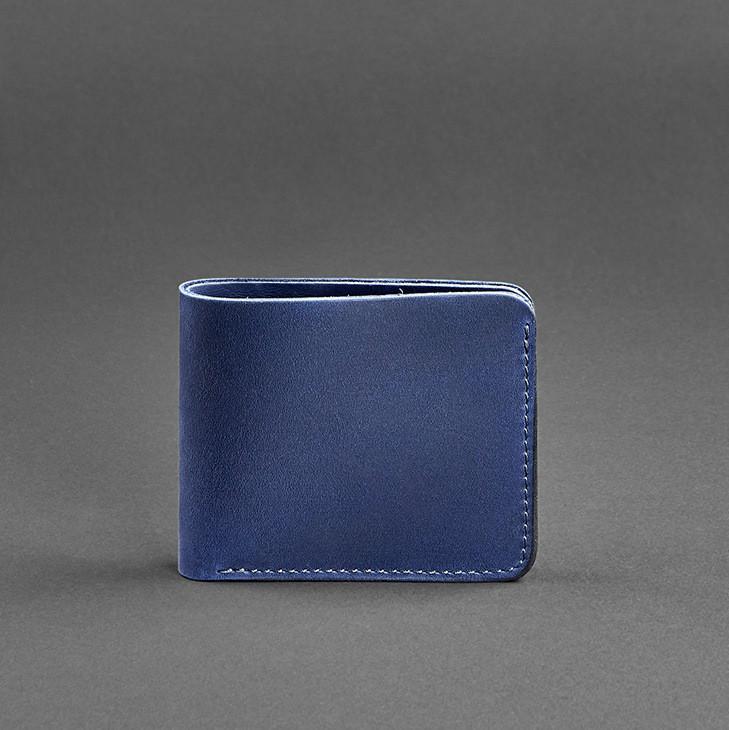 Купюрник кожаный мужской карты синий (ручная работа)