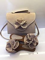Комплект сумка + шлепанцы ( бежевый) Турция