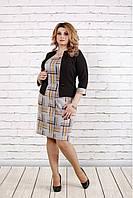 Женское платье в коричневую клетку 0779 / размер 42-74