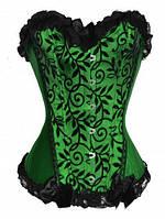 Зеленый корсет на шнуровке сзади