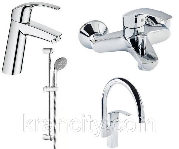 Набор смесителей для ванны+кухня 4в1 (23324001+33300002+27926000+33202002) GROHE EUROSMART 123248 MK
