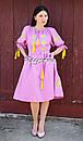 Платье открытые плечи, розовое платье вышиванка лен, платье в цыганском стиле, вишите плаття вишиванка, фото 3