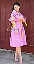 Платье открытые плечи, розовое платье вышиванка лен, платье в цыганском стиле, вишите плаття вишиванка, фото 5