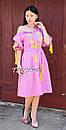 Платье открытые плечи, розовое платье вышиванка лен, платье в цыганском стиле, вишите плаття вишиванка, фото 8
